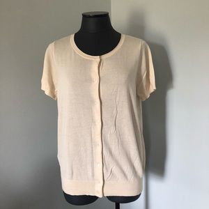LOFT Ivory Button Front Short Sleeve Cardigan NWT